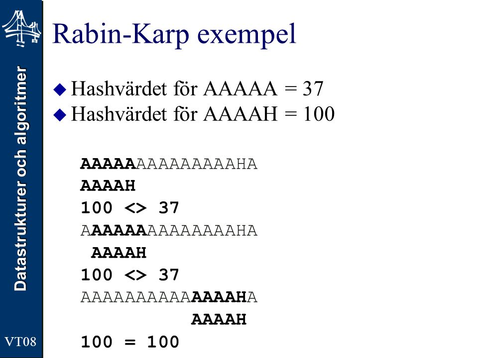 Rabin-Karp exempel Hashvärdet för AAAAA = 37