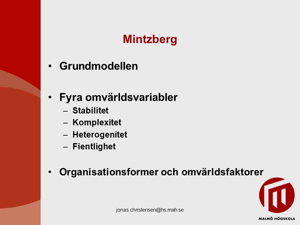 Mintzberg Grundmodellen Fyra omvärldsvariabler
