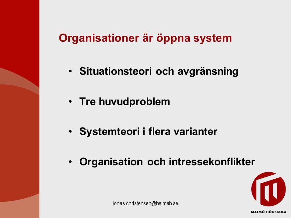 Organisationer är öppna system