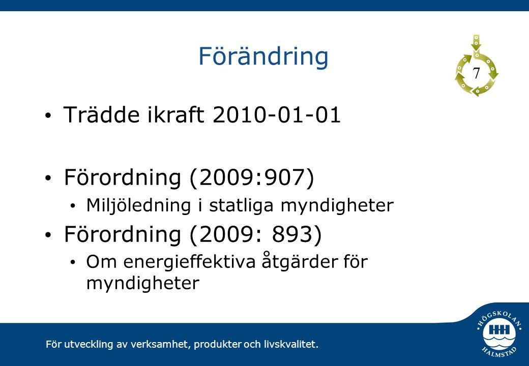 Förändring Trädde ikraft 2010-01-01 Förordning (2009:907)