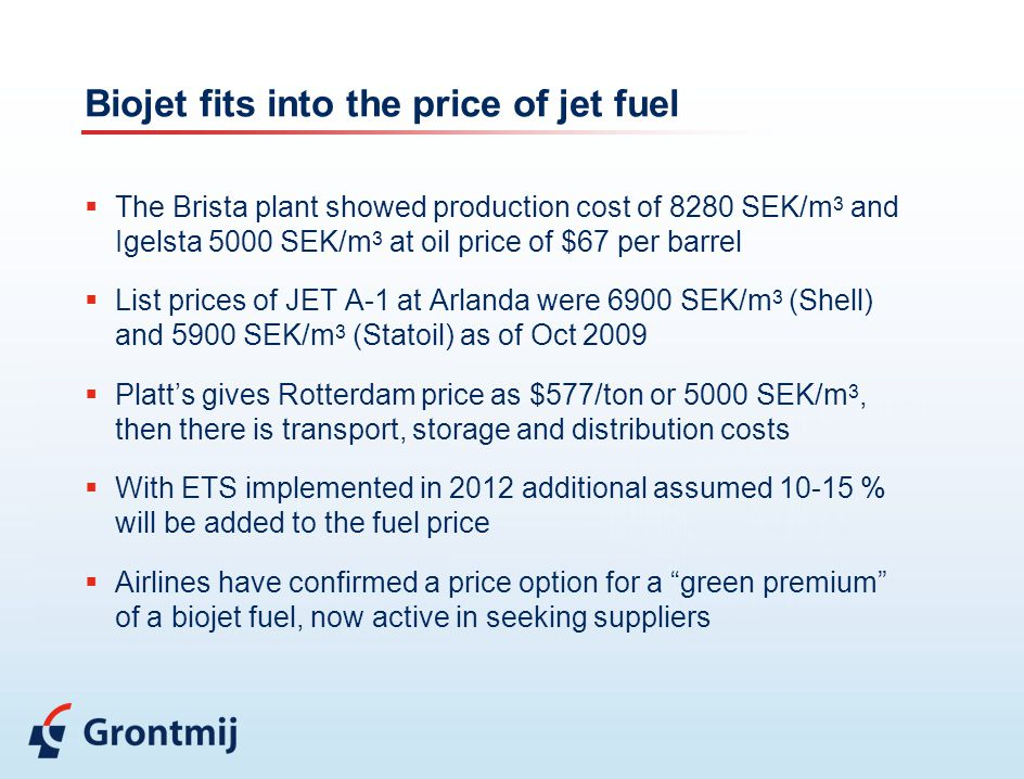 Biojet fits into the price of jet fuel