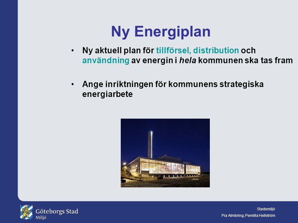 Ny Energiplan Ny aktuell plan för tillförsel, distribution och användning av energin i hela kommunen ska tas fram.