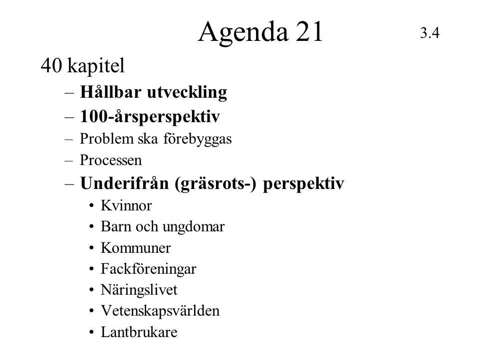 Agenda 21 40 kapitel Hållbar utveckling 100-årsperspektiv