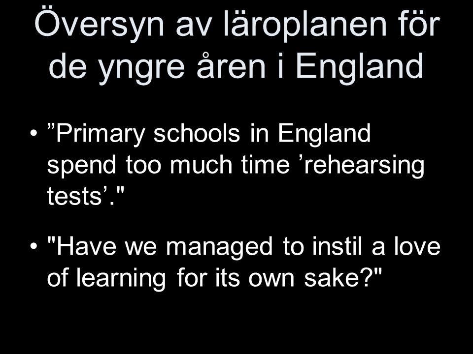 Översyn av läroplanen för de yngre åren i England