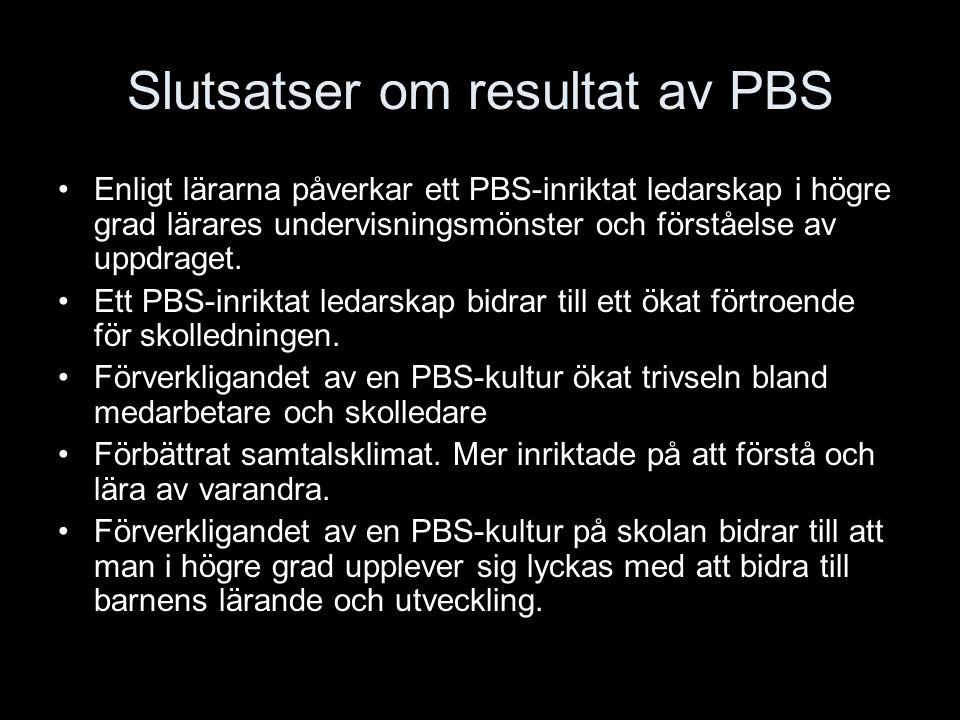 Slutsatser om resultat av PBS