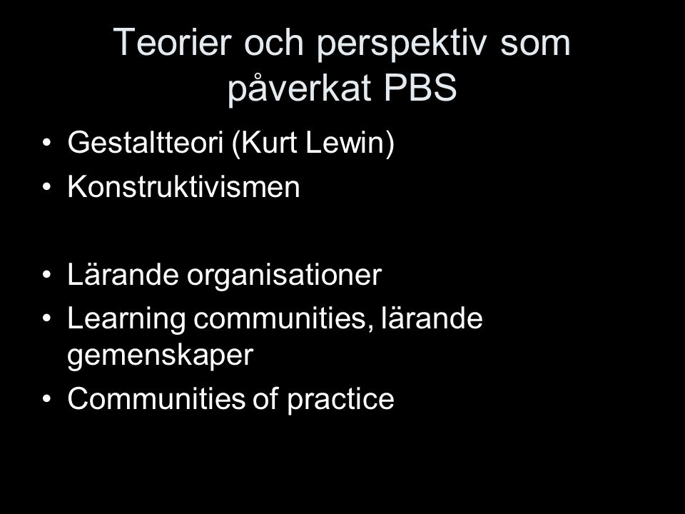Teorier och perspektiv som påverkat PBS