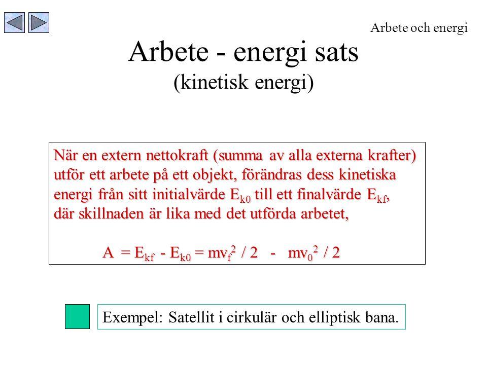Arbete - energi sats (kinetisk energi)