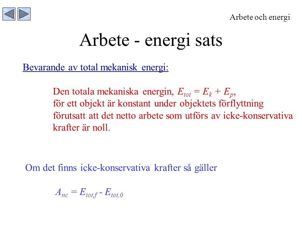 Arbete - energi sats Bevarande av total mekanisk energi:
