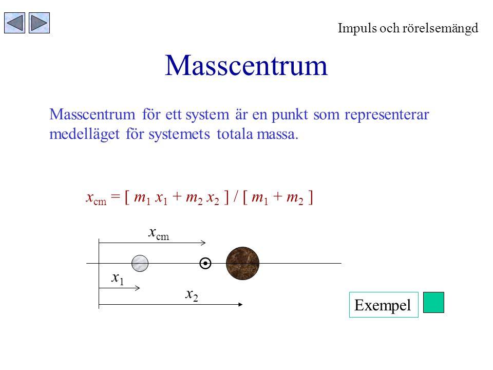 Masscentrum Masscentrum för ett system är en punkt som representerar