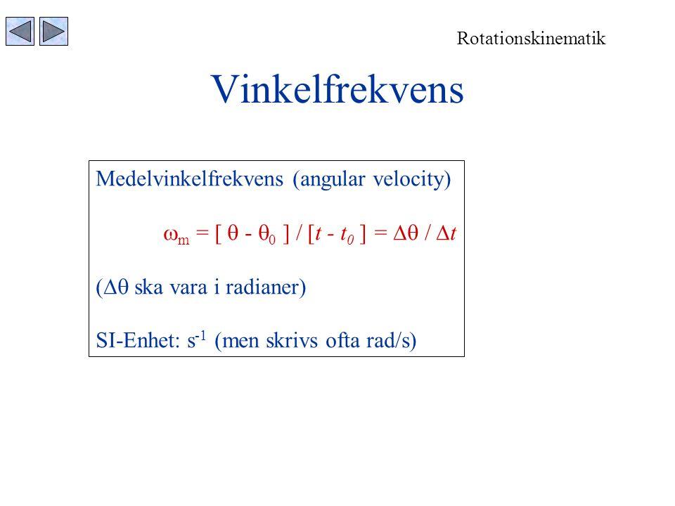 Vinkelfrekvens Medelvinkelfrekvens (angular velocity)