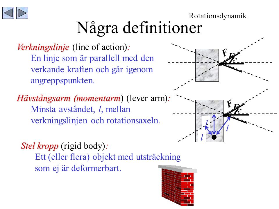 Några definitioner Verkningslinje (line of action):
