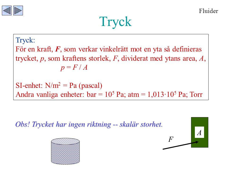 Fluider Tryck. Tryck: För en kraft, F, som verkar vinkelrätt mot en yta så definieras.