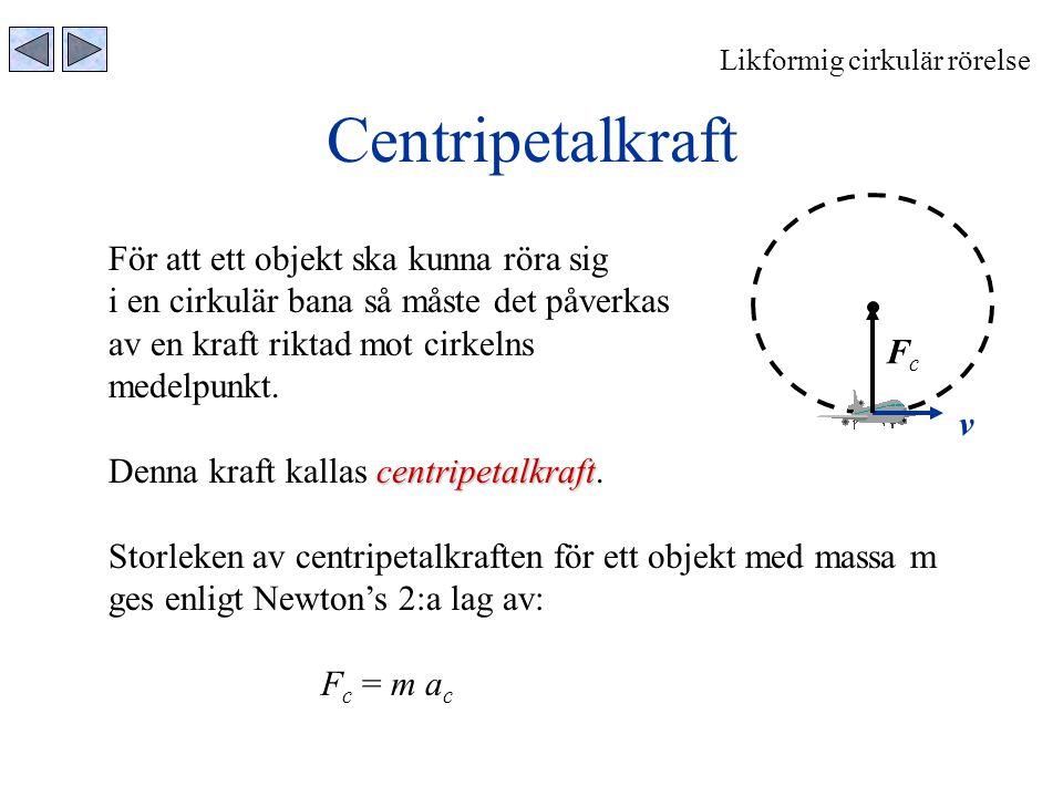 Centripetalkraft För att ett objekt ska kunna röra sig