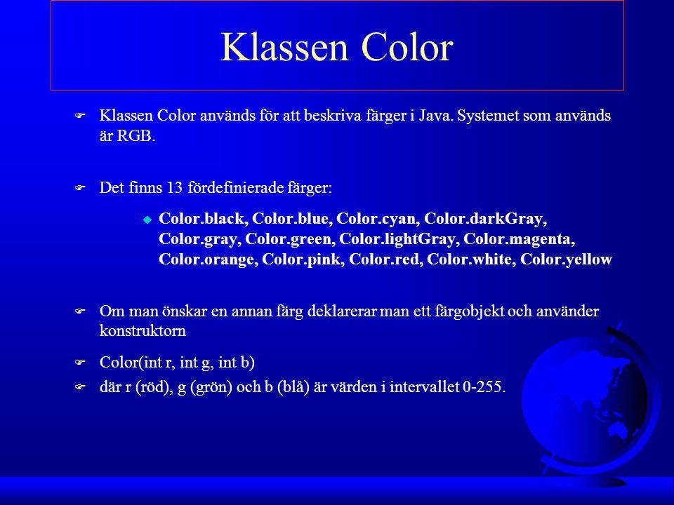Klassen Color Klassen Color används för att beskriva färger i Java. Systemet som används är RGB. Det finns 13 fördefinierade färger: