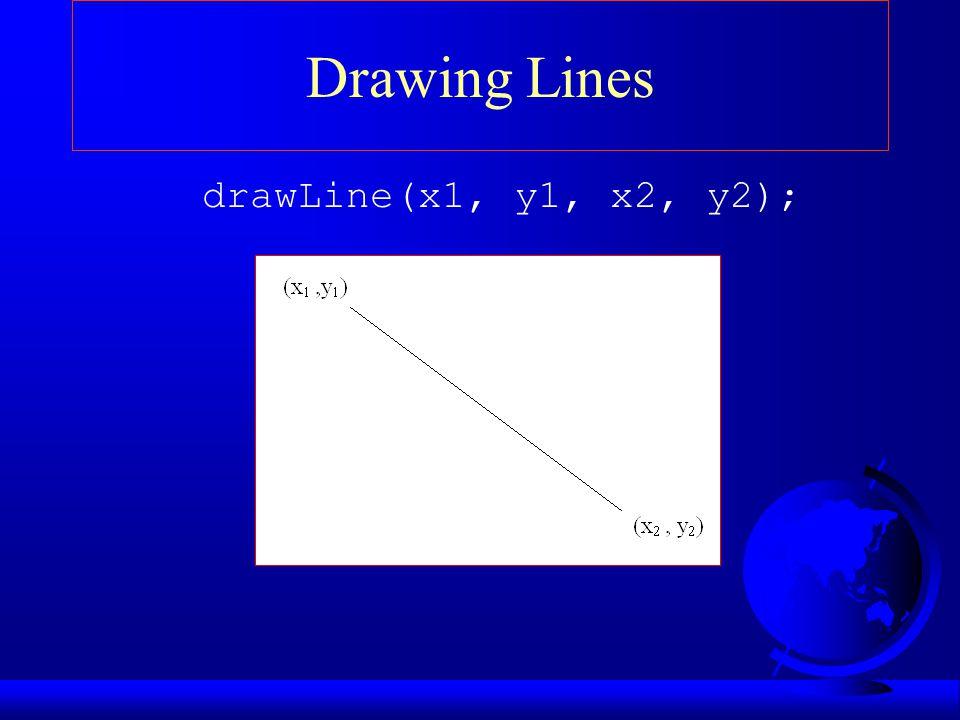 Drawing Lines drawLine(x1, y1, x2, y2);