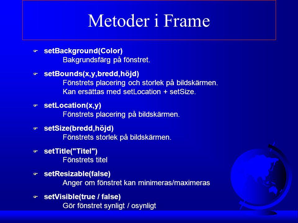 Metoder i Frame setBackground(Color) Bakgrundsfärg på fönstret.