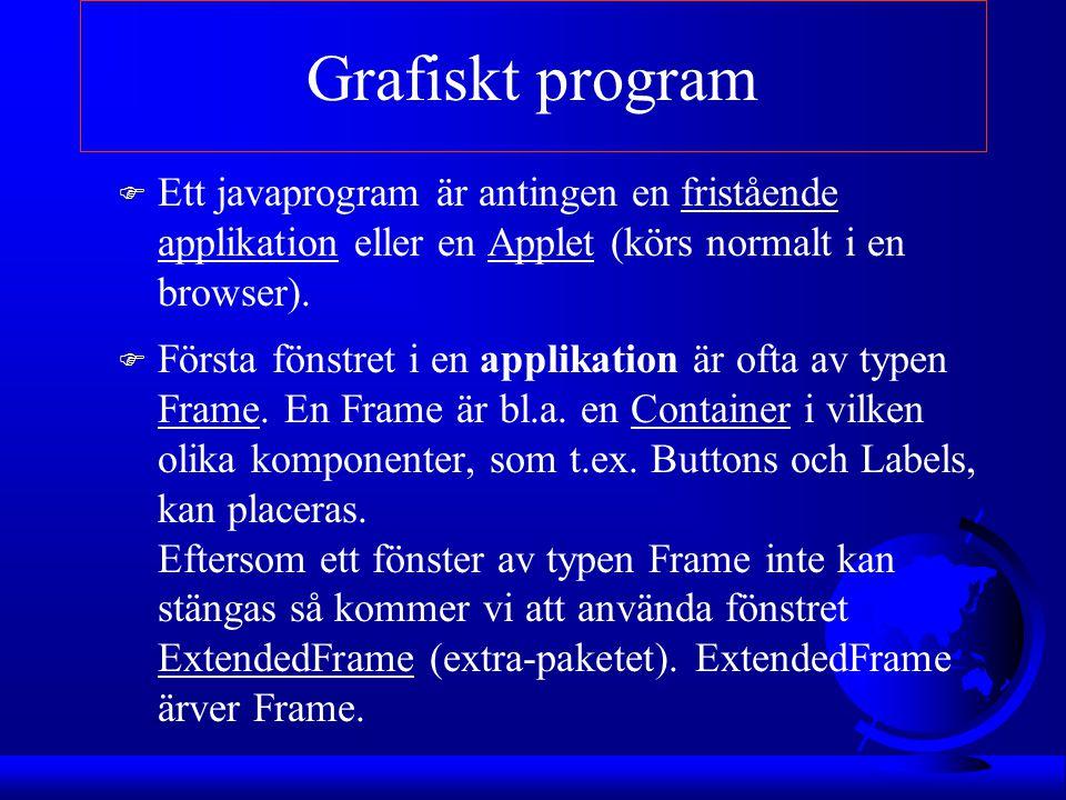 Grafiskt program Ett javaprogram är antingen en fristående applikation eller en Applet (körs normalt i en browser).