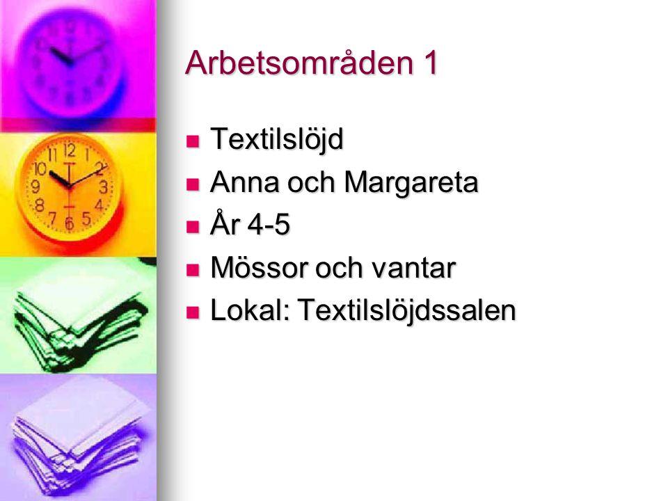 Arbetsområden 1 Textilslöjd Anna och Margareta År 4-5
