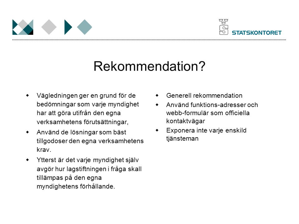 Rekommendation Vägledningen ger en grund för de bedömningar som varje myndighet har att göra utifrån den egna verksamhetens förutsättningar,