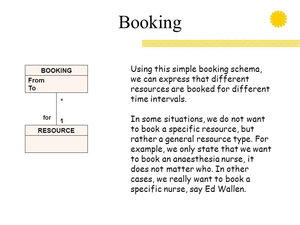 Booking Using this simple booking schema, we can express that different resources are booked for different time intervals.