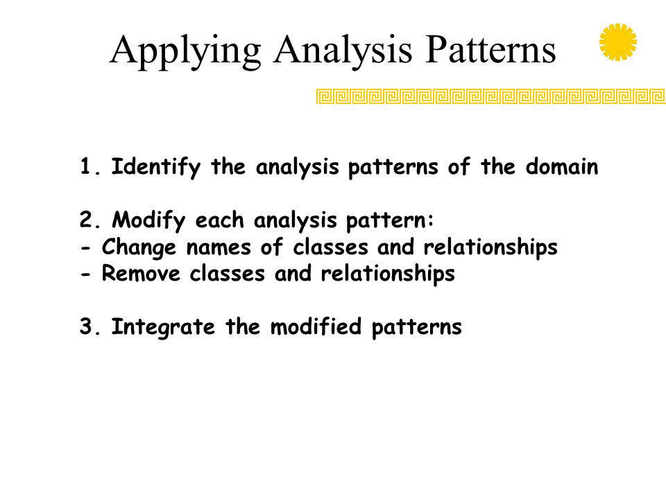 Applying Analysis Patterns