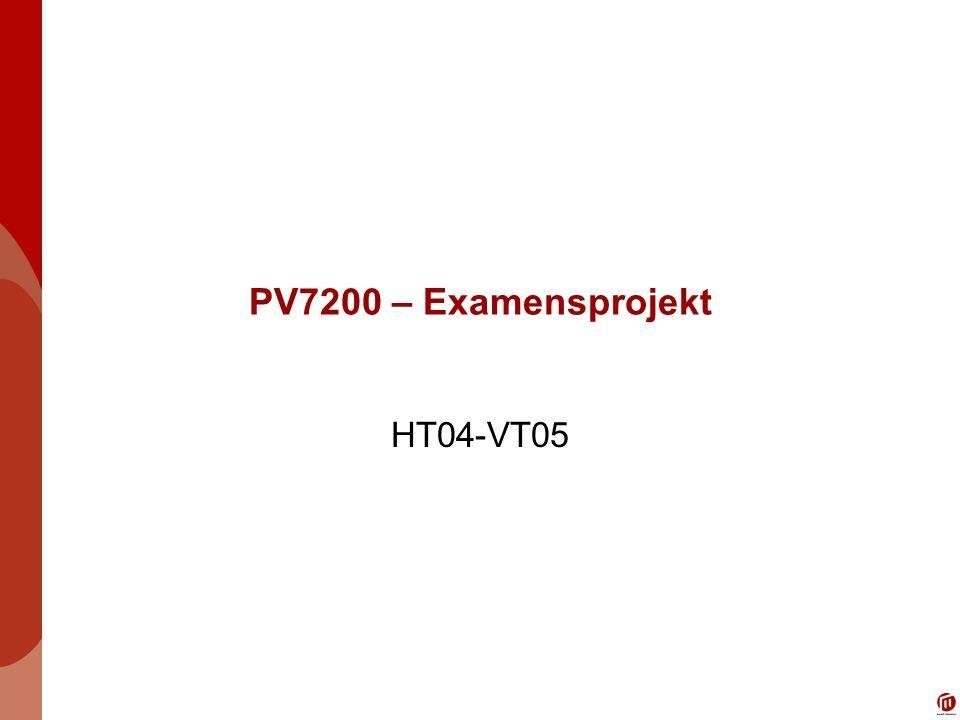 PV7200 – Examensprojekt HT04-VT05