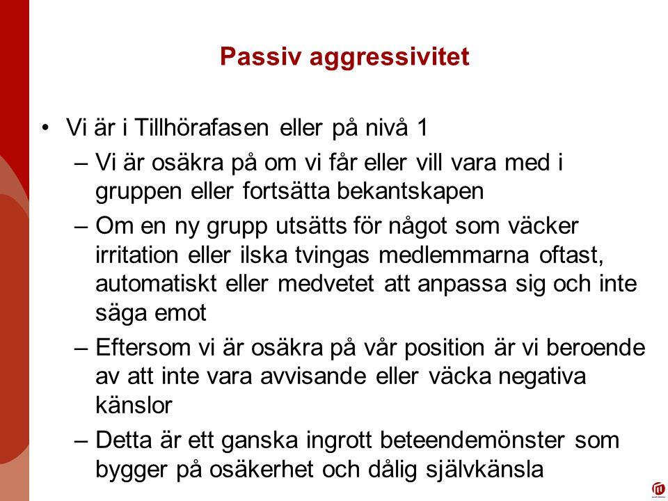 Passiv aggressivitet Vi är i Tillhörafasen eller på nivå 1