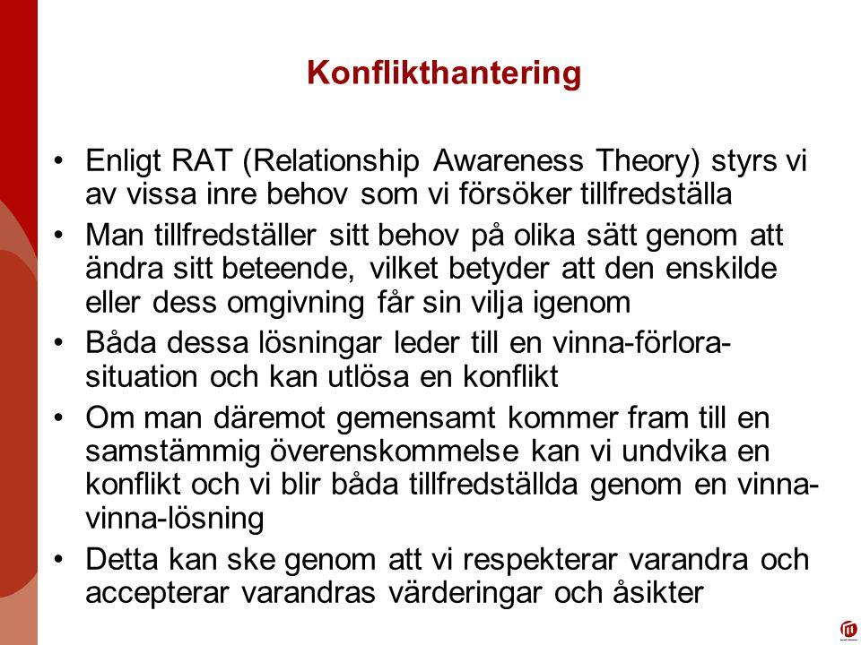 Konflikthantering Enligt RAT (Relationship Awareness Theory) styrs vi av vissa inre behov som vi försöker tillfredställa.