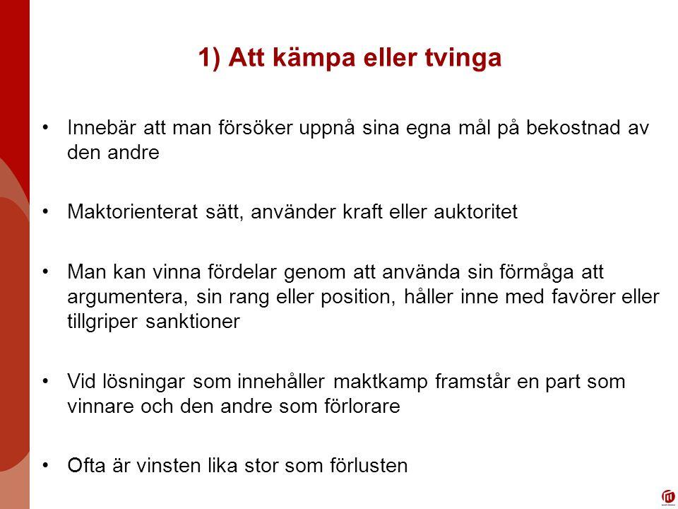1) Att kämpa eller tvinga
