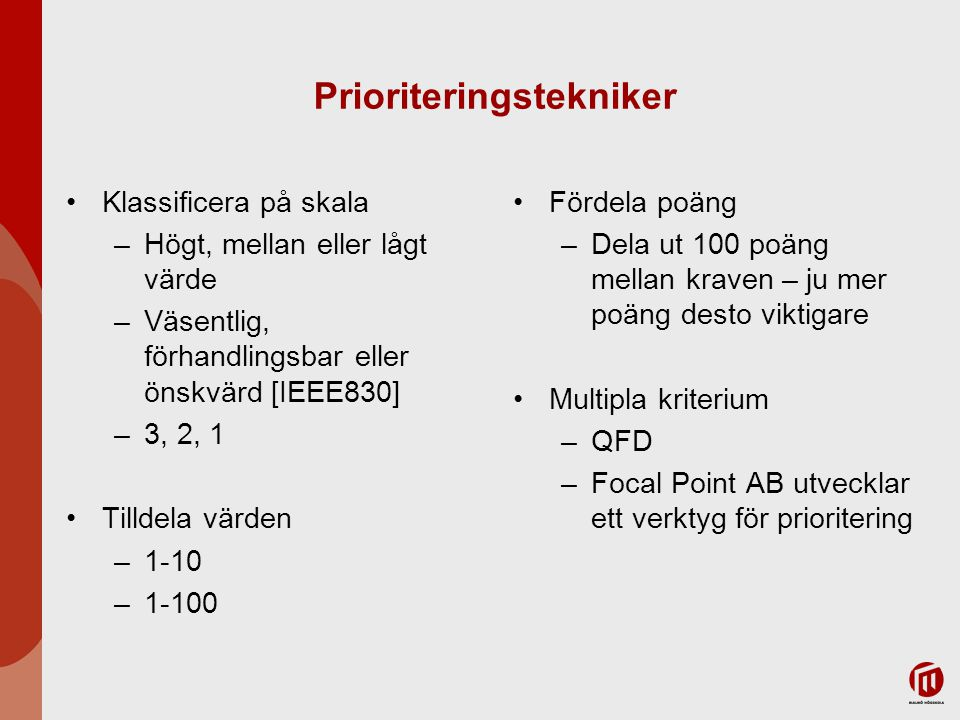 Prioriteringstekniker
