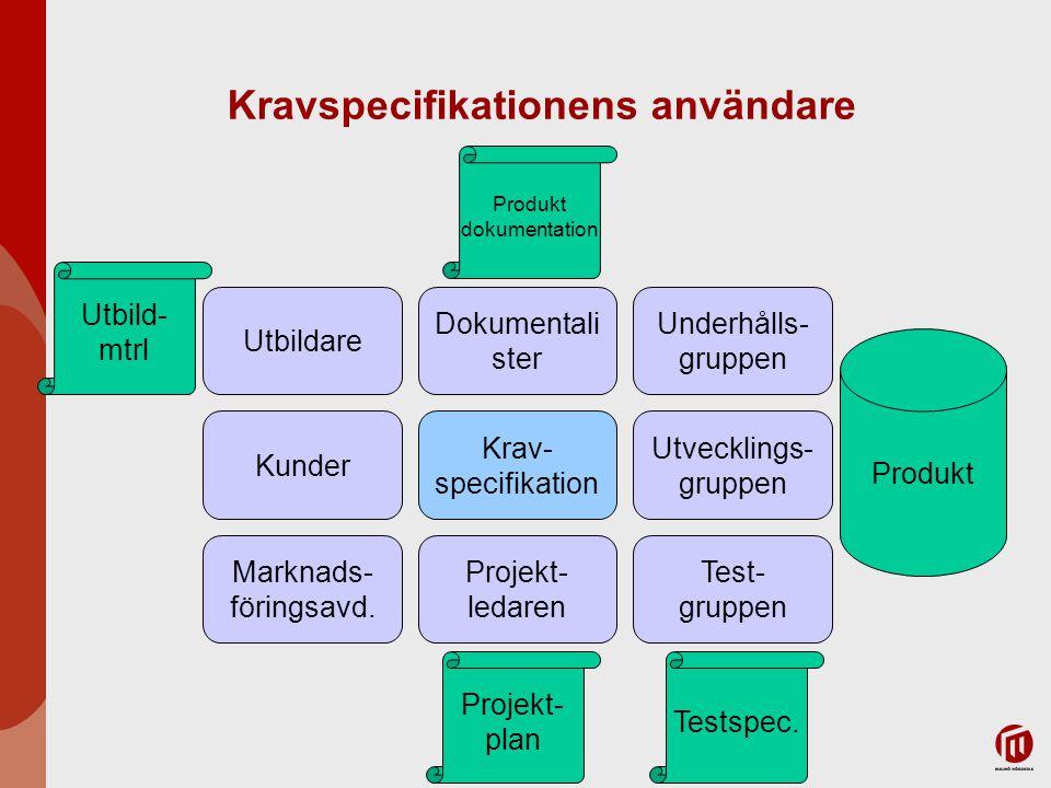 Kravspecifikationens användare