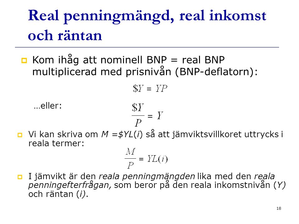 Real penningmängd, real inkomst och räntan