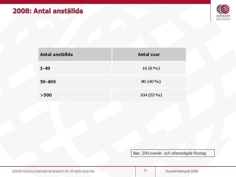 2008: Antal anställda Bas: 200 svensk- och utlandsägda företag