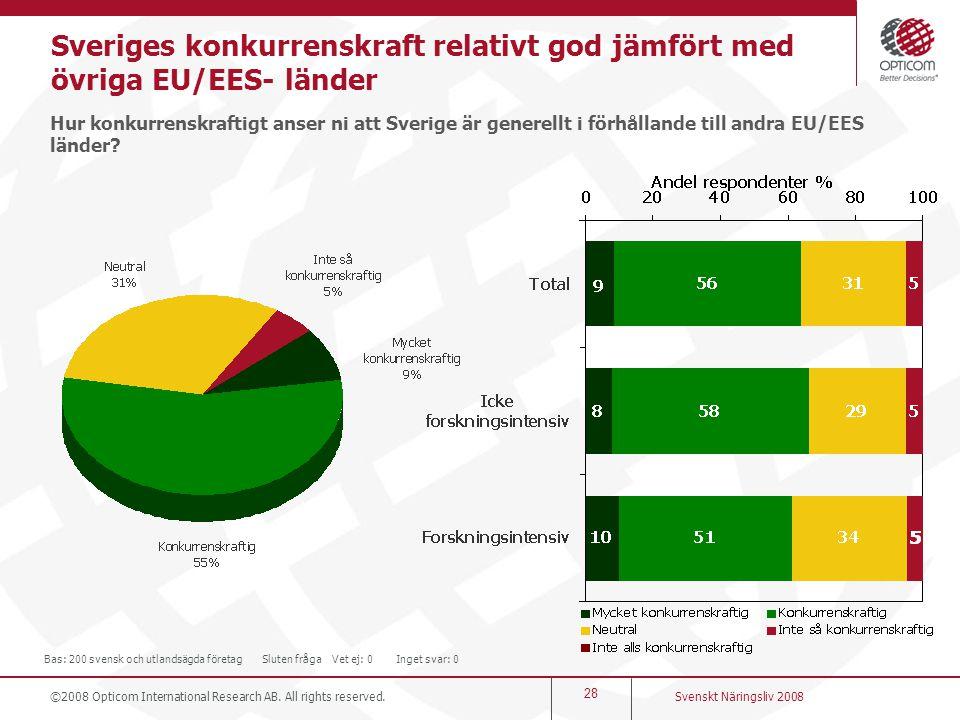 Sveriges konkurrenskraft relativt god jämfört med övriga EU/EES- länder