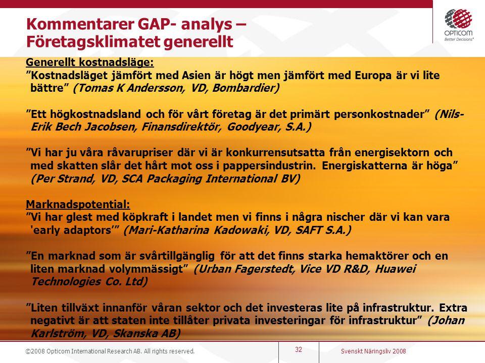 Kommentarer GAP- analys – Företagsklimatet generellt