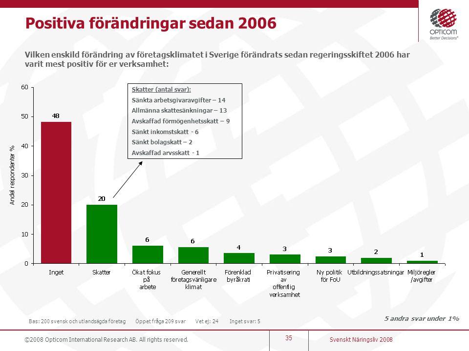 Positiva förändringar sedan 2006