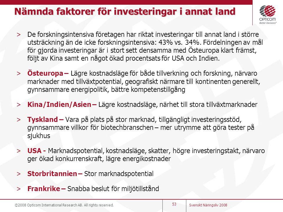 Nämnda faktorer för investeringar i annat land