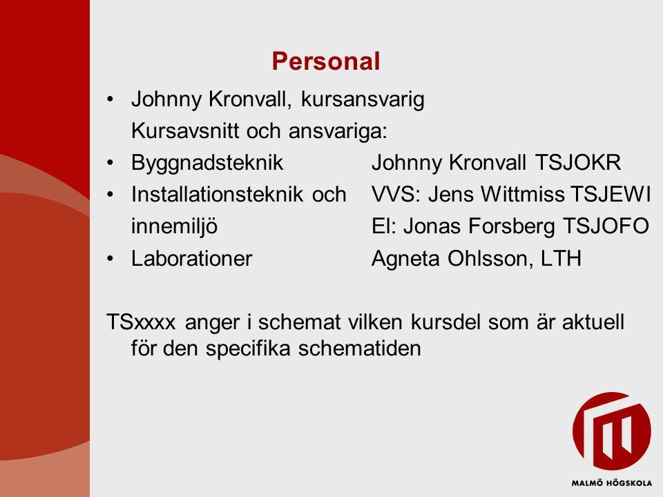 Personal Johnny Kronvall, kursansvarig Kursavsnitt och ansvariga: