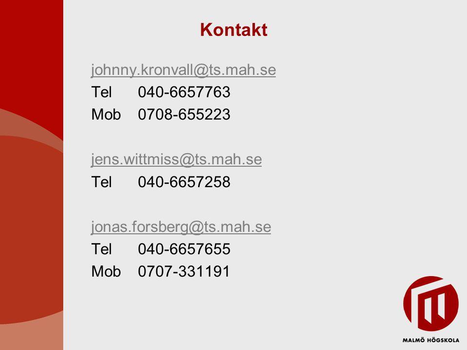 Kontakt johnny.kronvall@ts.mah.se Tel 040-6657763 Mob 0708-655223