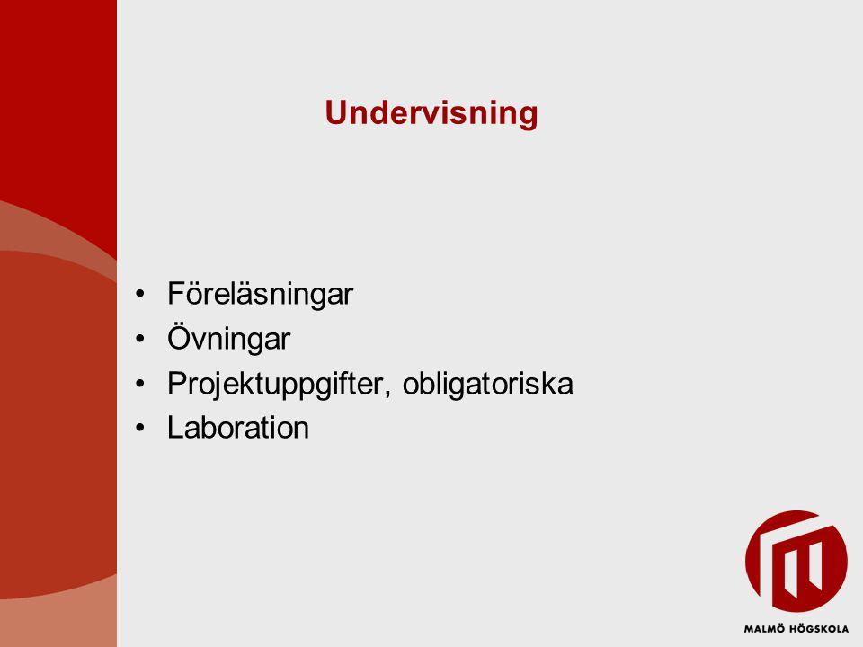 Undervisning Föreläsningar Övningar Projektuppgifter, obligatoriska