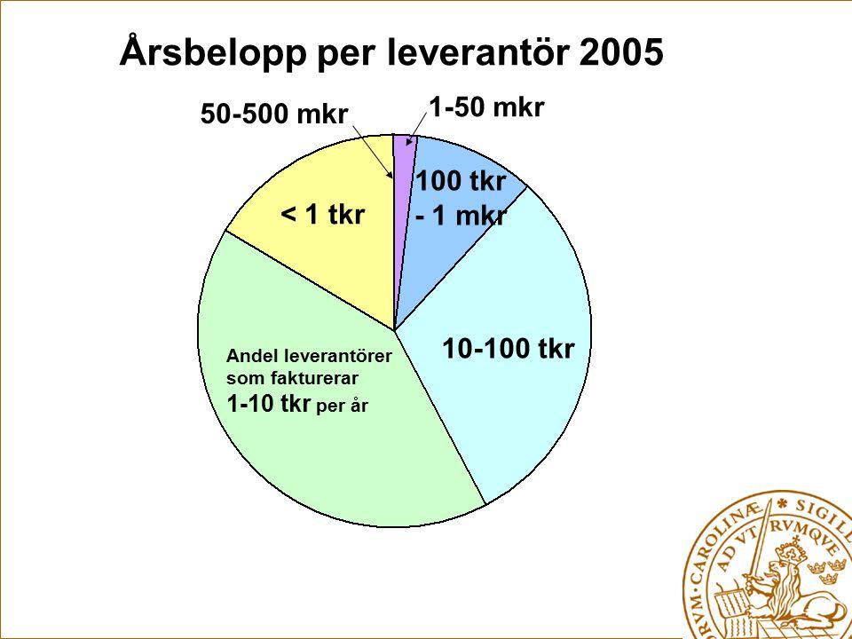 Årsbelopp per leverantör 2005