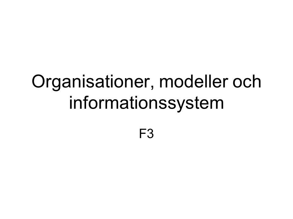 Organisationer, modeller och informationssystem