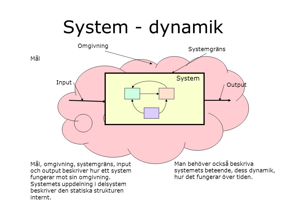 System - dynamik System Omgivning Systemgräns Mål Input Output