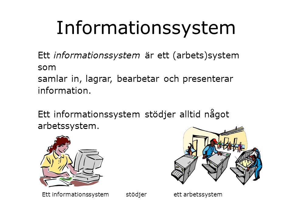 Informationssystem Ett informationssystem är ett (arbets)system som