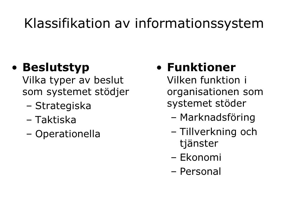 Klassifikation av informationssystem
