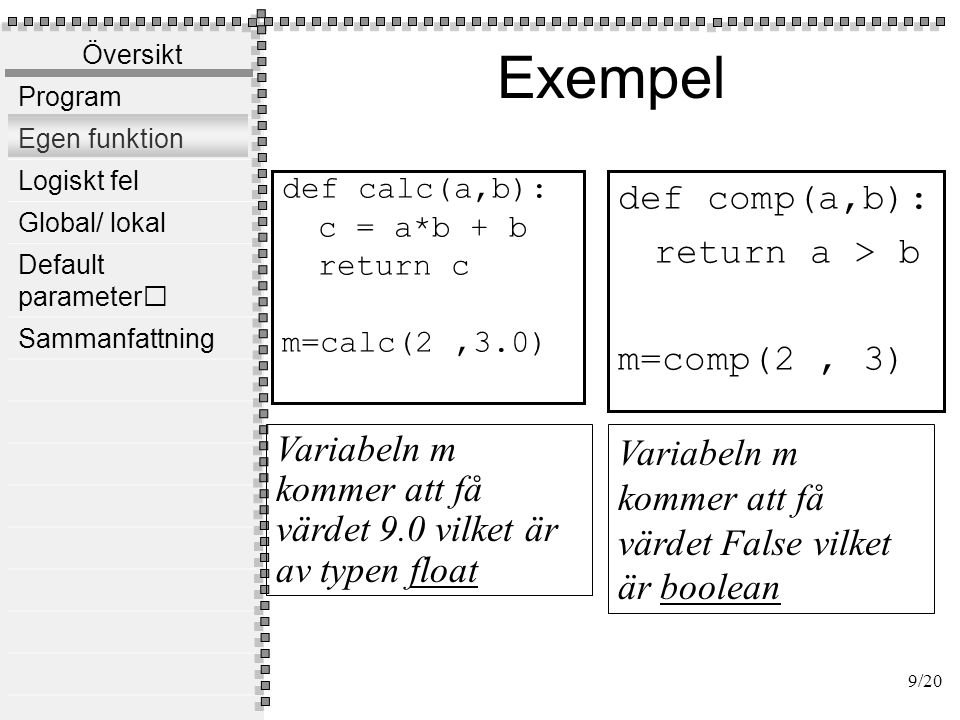 Program f1() f2() f3() utdata indata 10/20 Vahid Mosavat, Nada, KTH