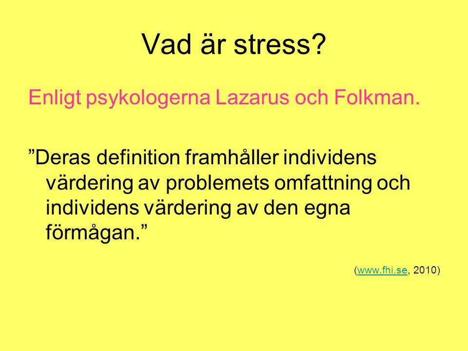 Vad är stress Enligt psykologerna Lazarus och Folkman.