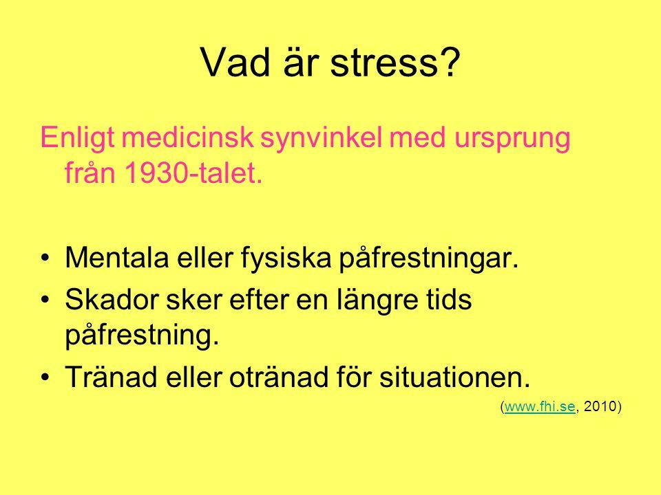 Vad är stress Enligt medicinsk synvinkel med ursprung från 1930-talet. Mentala eller fysiska påfrestningar.