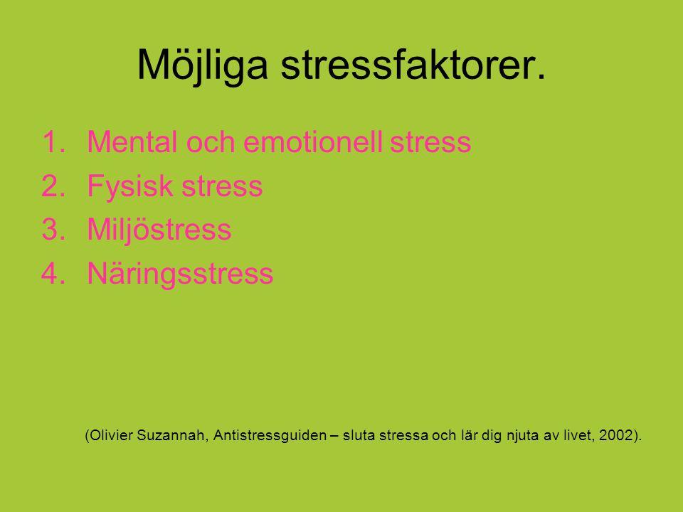 Möjliga stressfaktorer.