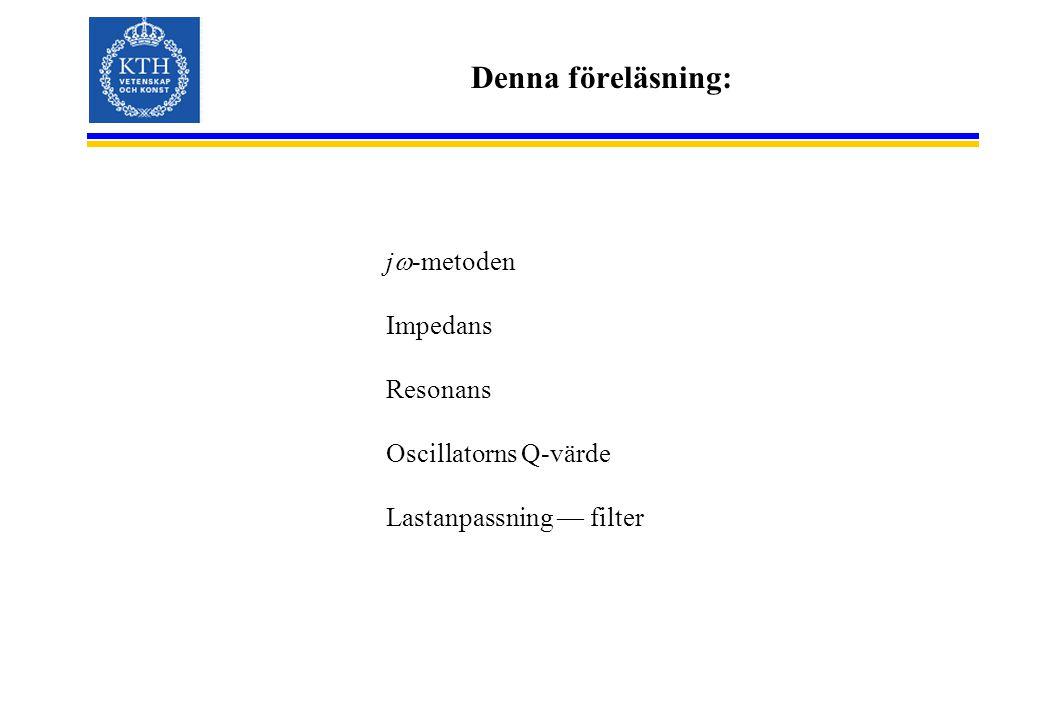 Denna föreläsning: jw-metoden Impedans Resonans Oscillatorns Q-värde